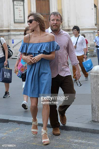 Guy Ritchie is seen with his girlfriend Jacqui Ainsley during a romantic walk on May 9 2015 in Rome Italy