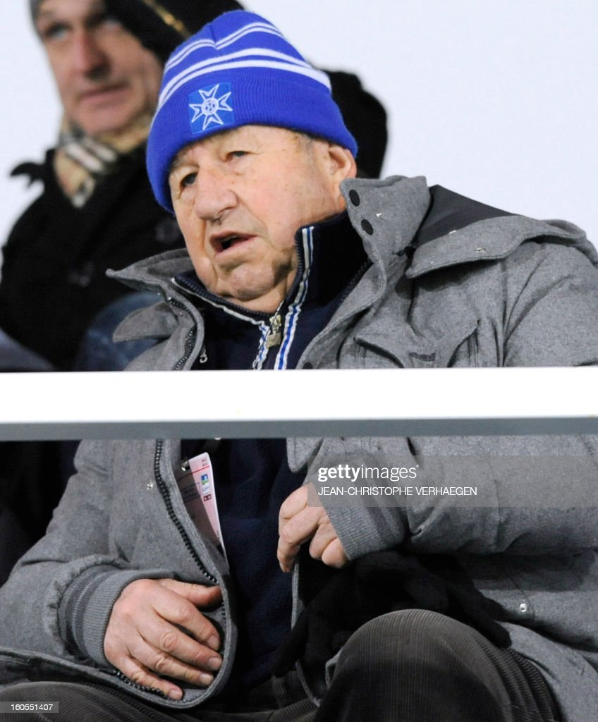 Guy Roux, former French head coach of French L1 Auxerre's football club, is pictured before the French L1 football match Bastia (SCB) vs Evian (ETGFC) at the Abbe Deschamps Stadium, on February 2, 2013 in Auxerre.