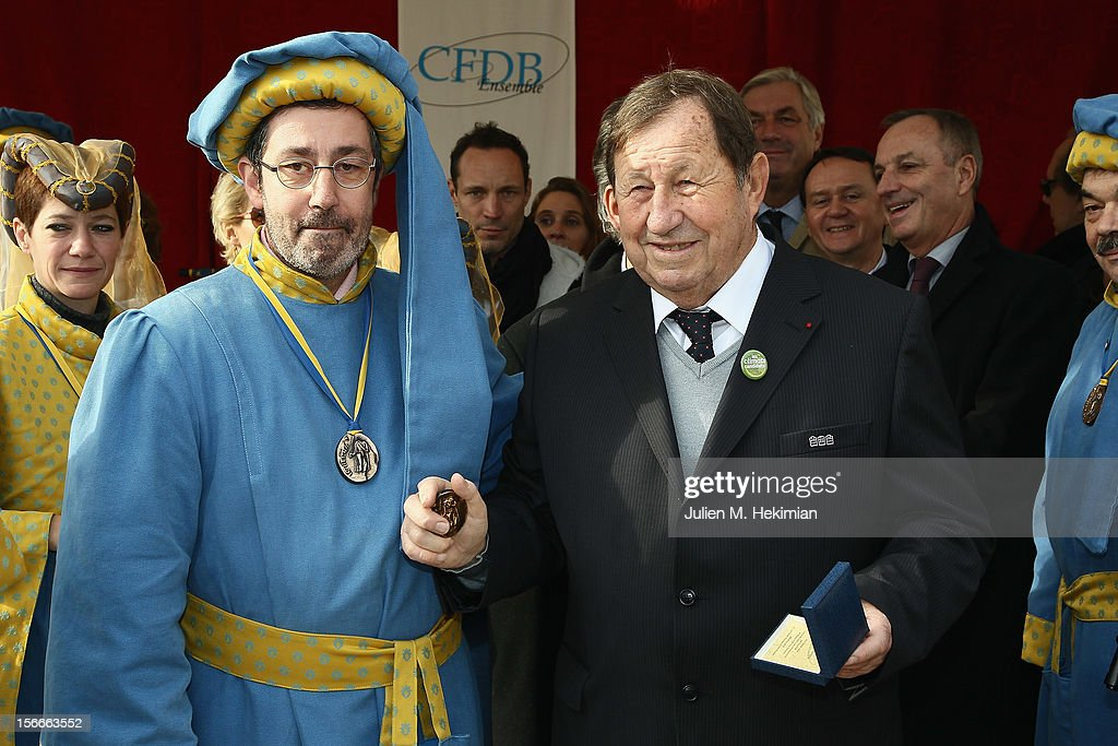 <a gi-track='captionPersonalityLinkClicked' href=/galleries/search?phrase=Guy+Roux&family=editorial&specificpeople=547872 ng-click='$event.stopPropagation()'>Guy Roux</a> is pictured after being awarded with the Belnus brotherhood medal on November 18, 2012 in Beaune, France.