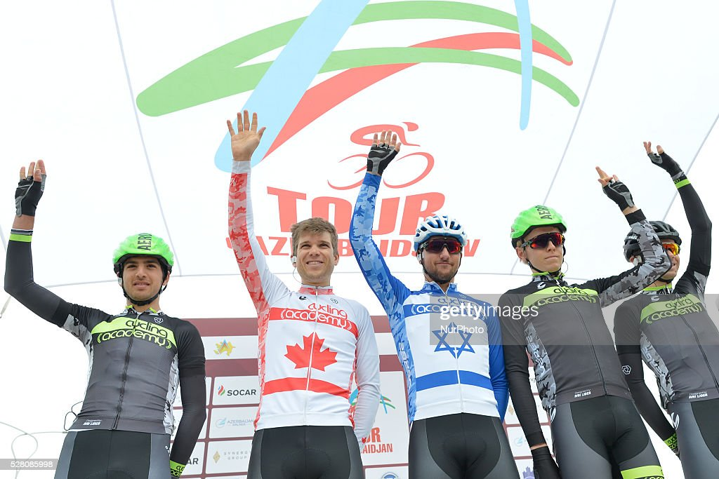 Guy Sagiv (Center), an Israeli rider from Cycling Academy Team and his team, pictured ahead the the opening stage of the 5th Tour d'Azerbaijan 2016, Baku to Sumqayitl Stage (153.5 km). This is a historic first time ever Israeli athlete participation when he wears an official Israeli jersey in a muslim country. Sumqayitl, Azerbaijan, on Wednesday, 4 May 2016.