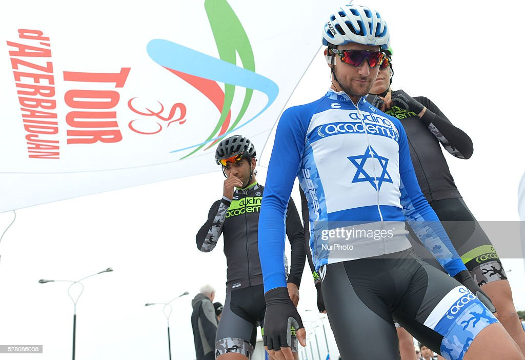 Guy Sagiv, an Israeli rider from Cycling Academy Team pictured ahead of the opening stage of the 5th Tour d'Azerbaijan 2016, Baku to Sumqayitl Stage (153.5 km). This is a historic first time ever Israeli athlete participation when he wears an official Israeli jersey in a muslim country. Sumqayitl, Azerbaijan, on Wednesday, 4 May 2016.