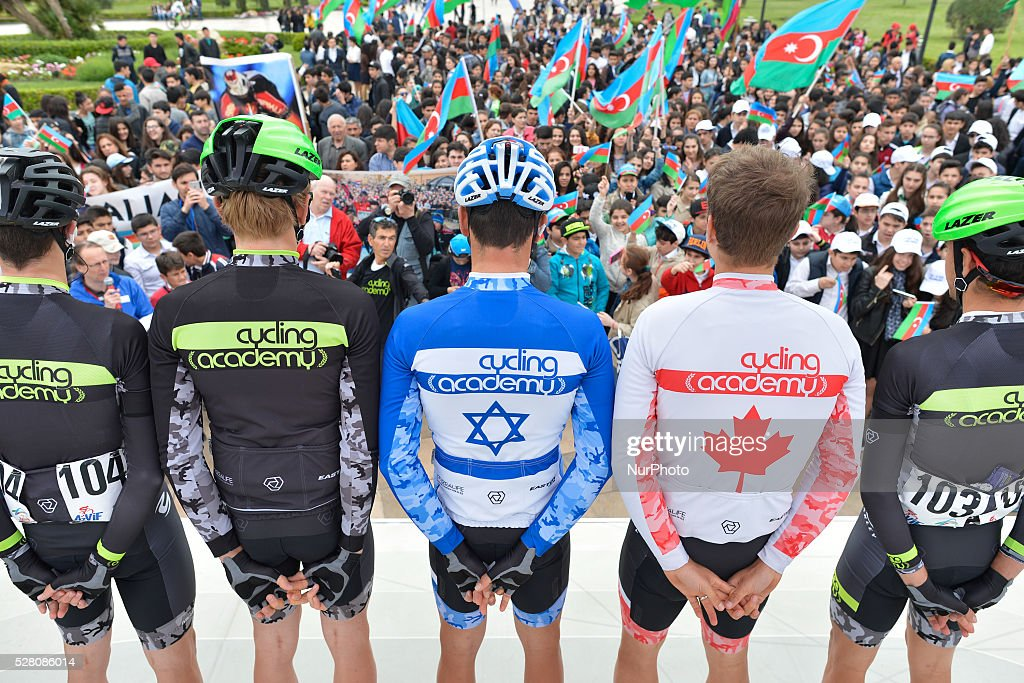 Guy Sagiv (Center), the National Chapion of Israel from Cycling Academy Team and his team, pictured ahead the the opening stage of the 5th Tour d'Azerbaijan 2016, Baku to Sumqayitl Stage (153.5 km). This is a historic first time ever Israeli athlete participation when he wears an official Israeli jersey in a muslim country. Sumqayitl, Azerbaijan, on Wednesday, 4 May 2016.