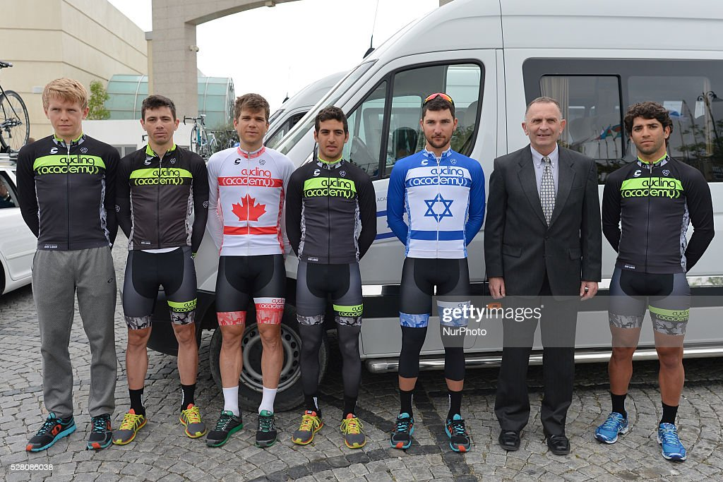 Guy Sagiv (Third Right), the National Chapion of Israel from Cycling Academy Team and his team, pictured ahead the the opening stage of the 5th Tour d'Azerbaijan 2016, Baku to Sumqayitl Stage (153.5 km). This is a historic first time ever Israeli athlete participation when he wears an official Israeli jersey in a muslim country. Sumqayitl, Azerbaijan, on Wednesday, 4 May 2016.