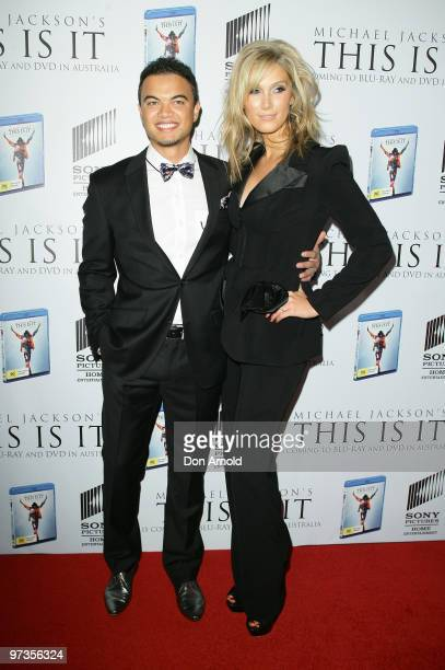 Guy Sebastian and Delta Goodrem arrive at the VIP Tribute show to mark the DVD release of the Michael Jackson documentary 'This Is It' at City...