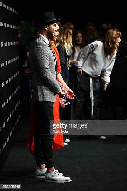 Guy Sebastian and Jules Egan arrive ahead of the David Jones Spring/Summer 2016 Fashion Launch at Fox Studios on August 3 2016 in Sydney Australia