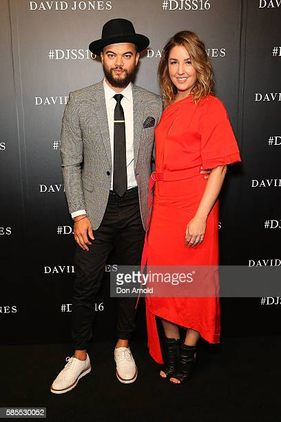 Guy Sebastian and Jules Egan arrive ahead of the David Jones Spring/Summer 2016 Fashion Launch at Fox Studios on August 3 2016 in Sydney Australia
