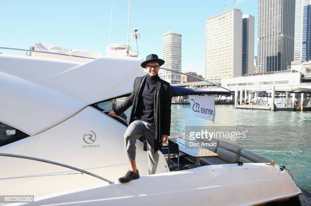 Guy Sebastian arrives by boat to the Vivid Sydney CEO Club Event Launch on June 5 2017 in Sydney Australia
