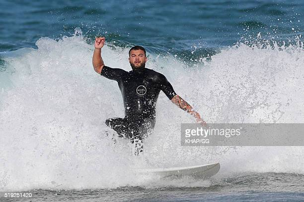 Guy Sebastian enjoys a surf at Bronte beach on April 1 2016 in Sydney Australia