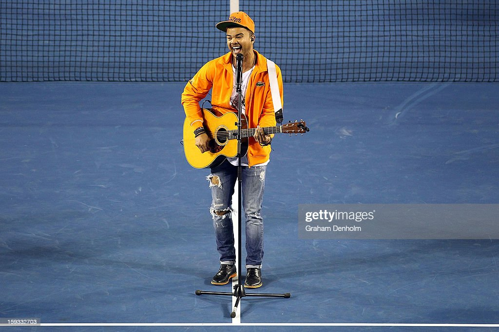 <a gi-track='captionPersonalityLinkClicked' href=/galleries/search?phrase=Guy+Sebastian&family=editorial&specificpeople=202665 ng-click='$event.stopPropagation()'>Guy Sebastian</a> performs during the Rod Laver Arena spectacular at Kids Tennis Day ahead of the 2013 Australian Open at Melbourne Park on January 12, 2013 in Melbourne, Australia.