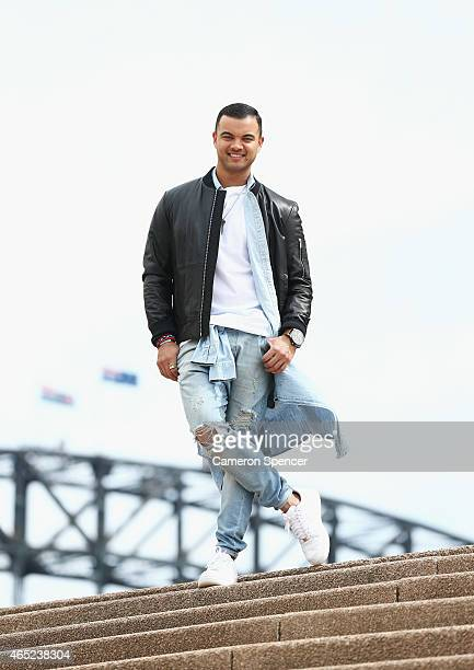 Guy Sebastian poses after being announced as the Australian representative in the 2015 Eurovision Song Contest at the Sydney Opera House on March 5...
