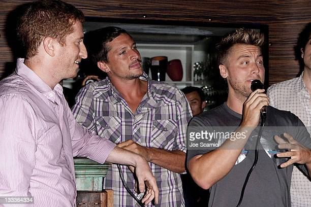 Guy Shalem Simon Rex and Lance Bass Lance speaking about the pilot at O Bar Restaurant and Lounge on August 5 2009 in West Hollywood California