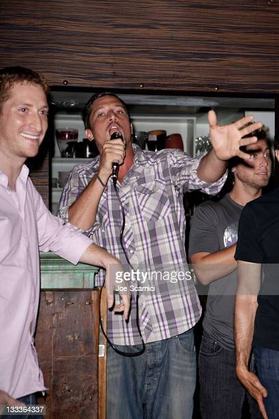 Guy Shalem Simon Rex Lance Bass attend the 'Rex' pilot episode viewing party at O Bar Restaurant and Lounge on August 5 2009 in West Hollywood...