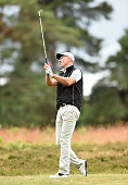Guy Shoesmith of West Hill Golf Club tees off from the 3rd hole during the The Lombard Trophy South Qualifier at Walton Heath Golf Club on July 8...