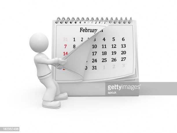 3 D guy girando sobre el calendario de la página. De febrero.