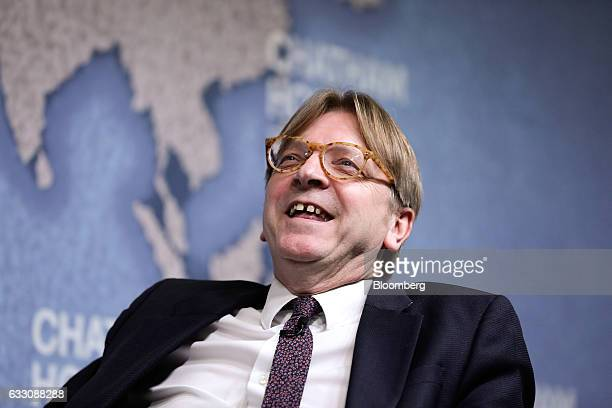 Guy Verhofstadt Brexit negotiator for the European Parliament reacts before delivering a speech at Chatham House in London UK on Monday Jan 30 2017...