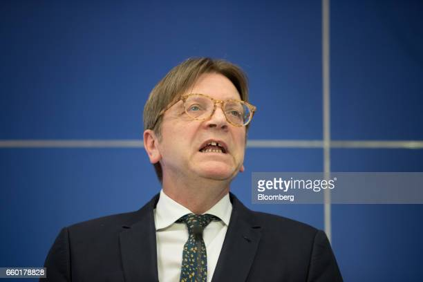 Guy Verhofstadt Brexit negotiator for the European Parliament speaks during a news conference at the European Parliament in Brussels Belgium on...