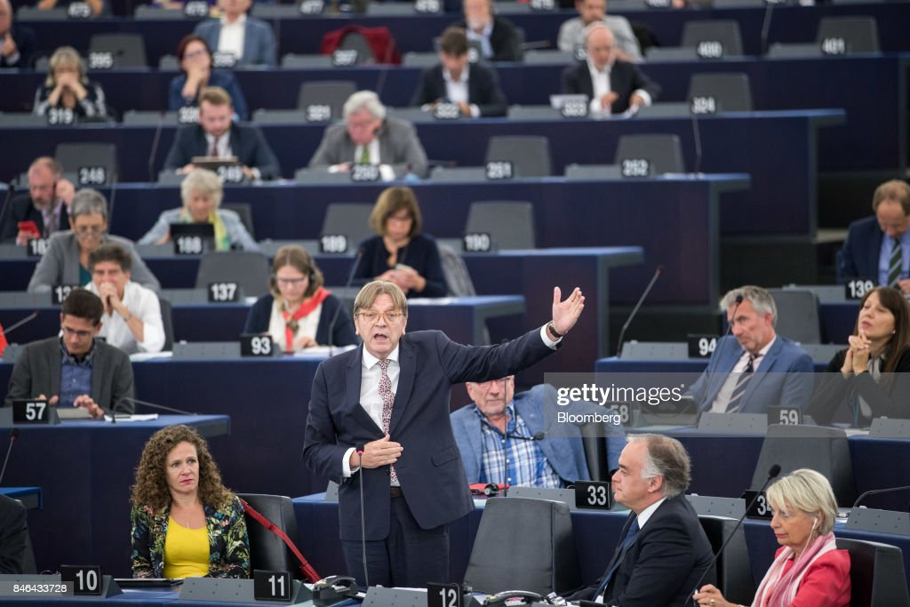 Guy Verhofstadt, Brexit negotiator for the European Parliament, speaks during the State of the Union address at the European Parliament in Strasbourg, France, on Wednesday, Sept. 13, 2017. In a sign of the EUs renewed confidence, European Commission President Jean-Claude Juncker will push for free-trade pacts withAustralia and New Zealandat a time when the U.S. is turning inward, along with a bloc-wide system for screening foreign takeovers and deeper euro-area banking integration. Photographer: Jasper Juinen/Bloomberg via Getty Images
