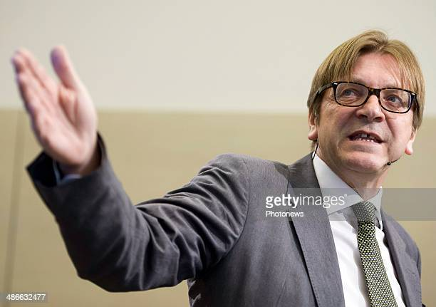 Guy Verhostadt pictured holds a press conference annoucing he will be candidate to presidency of EEC Commission on April 25 2014 in Brussels Belgium