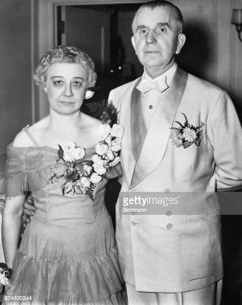 Guy W Ballard and his wife Edna Ballard as they are seen before Mr Ballard prepared to speak to 2500 people at the Civi Opera House in downtown...