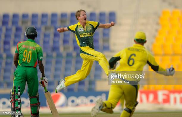 Guy Walker of Australia celebrates the wicket of Mustafizur Rahman of Bangladesh during the ICC U19 CWC match between Australia U19 and Bangladesh...