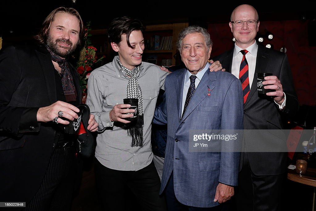 Guy West, Monroe Robertson, <a gi-track='captionPersonalityLinkClicked' href=/galleries/search?phrase=Tony+Bennett+-+Singer&family=editorial&specificpeople=160951 ng-click='$event.stopPropagation()'>Tony Bennett</a> and Mark Jeffery attend Zappos Couture Welcomes Jeffery-West Infamous English Shoes at No. 8 on October 16, 2013 in New York City.