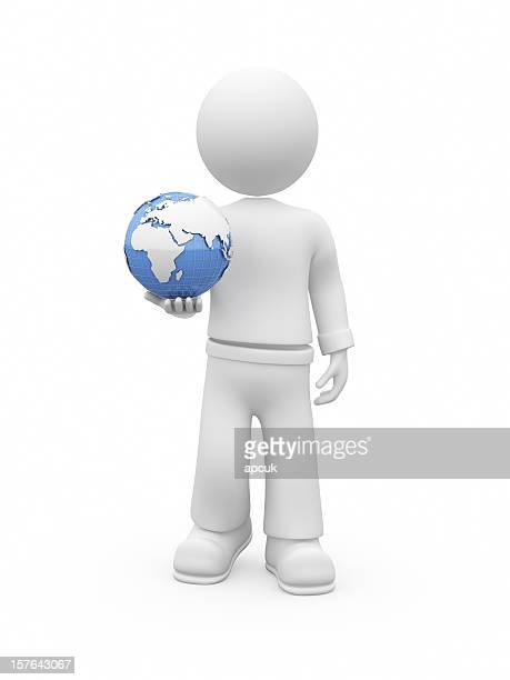 3D guy with globe.