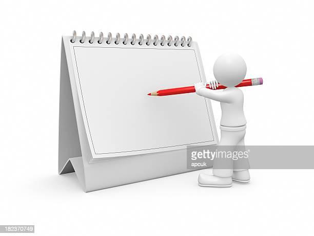 3D guy writing on a calendar.