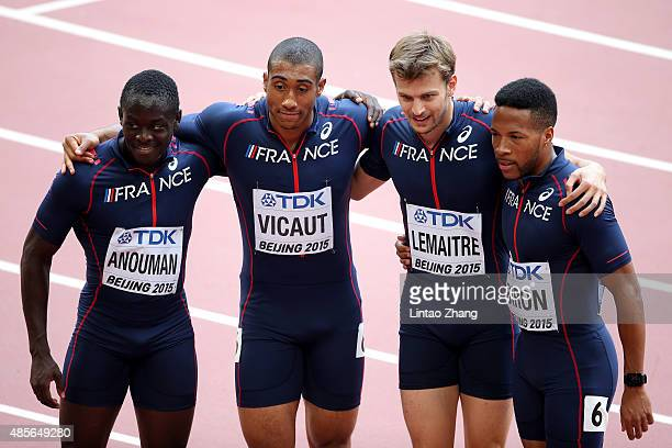 GuyElphege Anouman of France Jimmy Vicaut of France Christophe Lemaitre of France and Emmanuel Biron of France pose during the Men's 4x100 Metres...