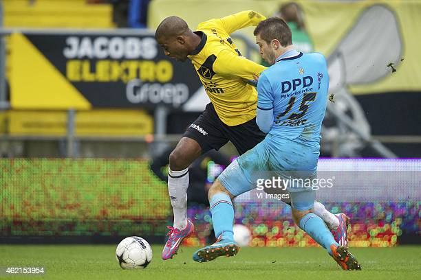 Guyon Fernandez of NAC Breda Dries Wuytens of Willem II during the Dutch Eredivisie match between NAC Breda and Willem II at the Rat Verlegh stadium...