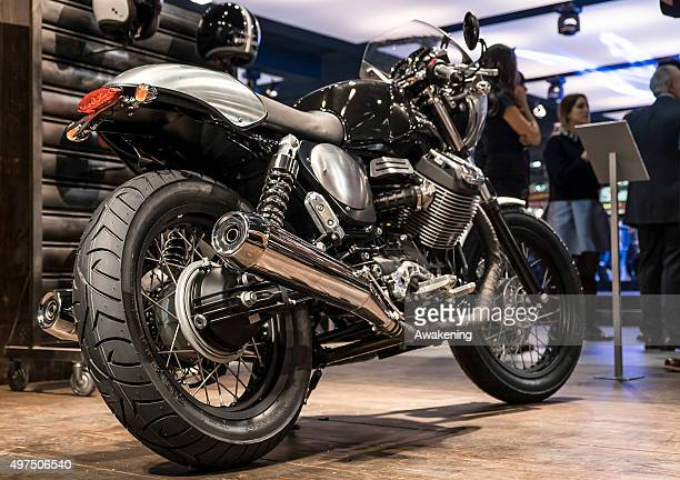 Guzzi V9 is seen on the opening day of the Milan Motorcycle Show on November 17 2015 in Milan Italy EICMA or the Milan Motorcycle Show is an annual...