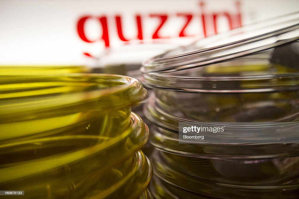 Guzzini table ware is displayed for sale at an Eataly location in the Flatiron district of New York, U.S., on Wednesday, Feb. 6, 2013. Eataly is a high-end Italian food market/mall chain, owned by a partnership including Mario Batali, Lidia Bastianich and Joe Bastianich, which first opened in Turin, Italy, in 2007. Photographer: Scott Eells/Bloomberg via Getty Images