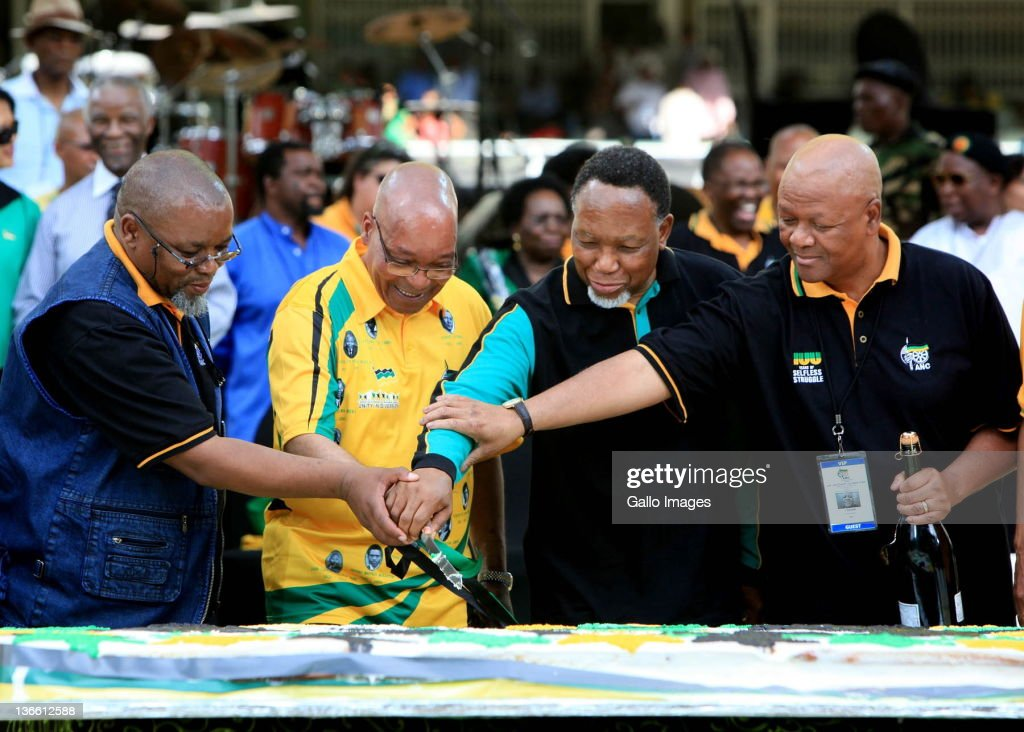 Gwede Mantashe, Jacob Zuma, Kgalema Mothlanthe and Jeff Radebe cutt the centenery cake at the Mangaung stadium during celebrations of the centenary of the ANC on January 8, 2012 in Bloemfontein, South Africa. South Africa's ruling party, the ANC celebrated its 100th anniversary with tens of thousands of supporters gathering at Mangaung stadium in celebration of the anti-apartheid movement's 100th birthday.
