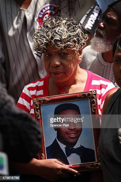Gwen Carr the mother of Eric Garner joins activists community leaders and other family members who have lost loved ones in incidents involving the...