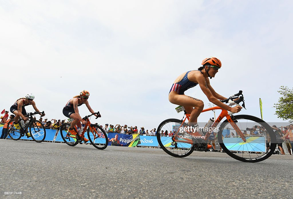 Gwen Jorgensen (20) of the United States, Non Stanford (16) of Great Britain and Vicky Holland (14) of Great Britain ride during the Women's Triathlon on Day 15 of the Rio 2016 Olympic Games at Fort Copacabana on August 20, 2016 in Rio de Janeiro, Brazil.