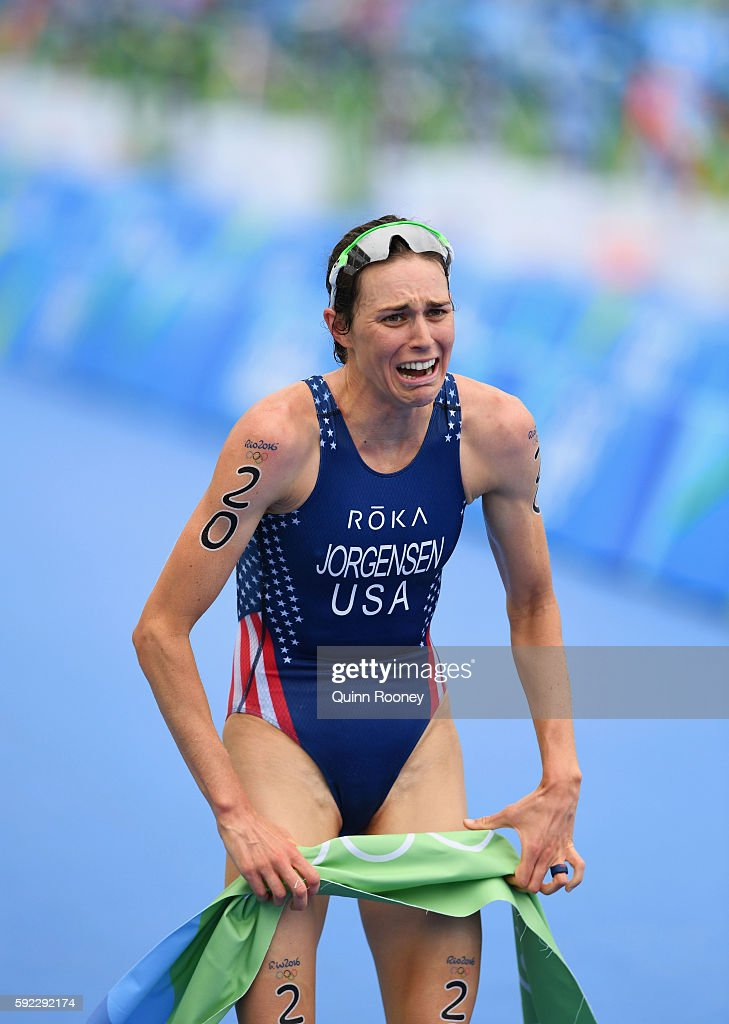 Gwen Jorgensen of the United States shows her emotions as she wins gold during the Women's Triathlon on Day 15 of the Rio 2016 Olympic Games at Fort Copacabana on August 20, 2016 in Rio de Janeiro, Brazil.