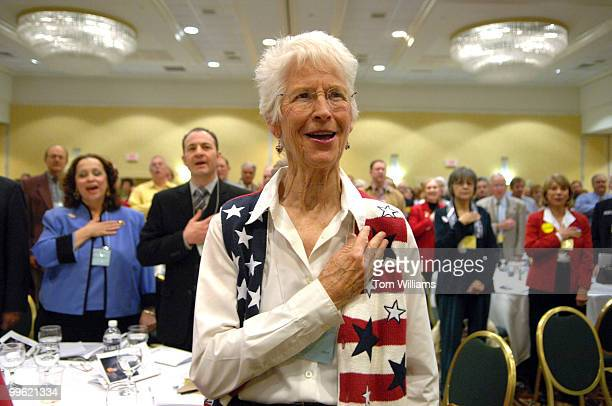 Gwen Poe of Bernalillo County recites the Pledge of Allegiance during the state republican convention at the Marriott hotel in Albuquerque NM