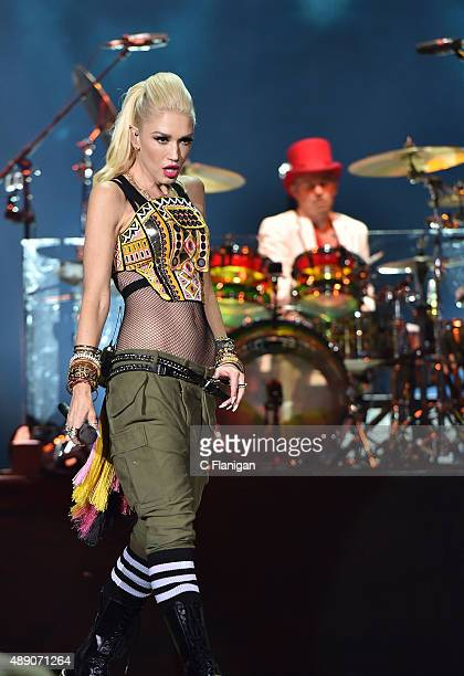 Gwen Stefani and Adrian Young of No Doubt perform during the 2015 KAABOO Del Mar at the Del Mar Fairgrounds on September 18 2015 in Del Mar California