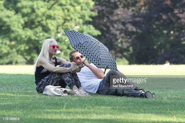 Gwen Stefani and Gavin Rossdale seen in Regents Park on August 1 2013 in London England