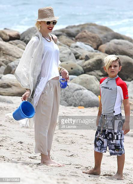 Gwen Stefani and Kingston Rossdale are seen in Malibu on July 13 2013 in Los Angeles California