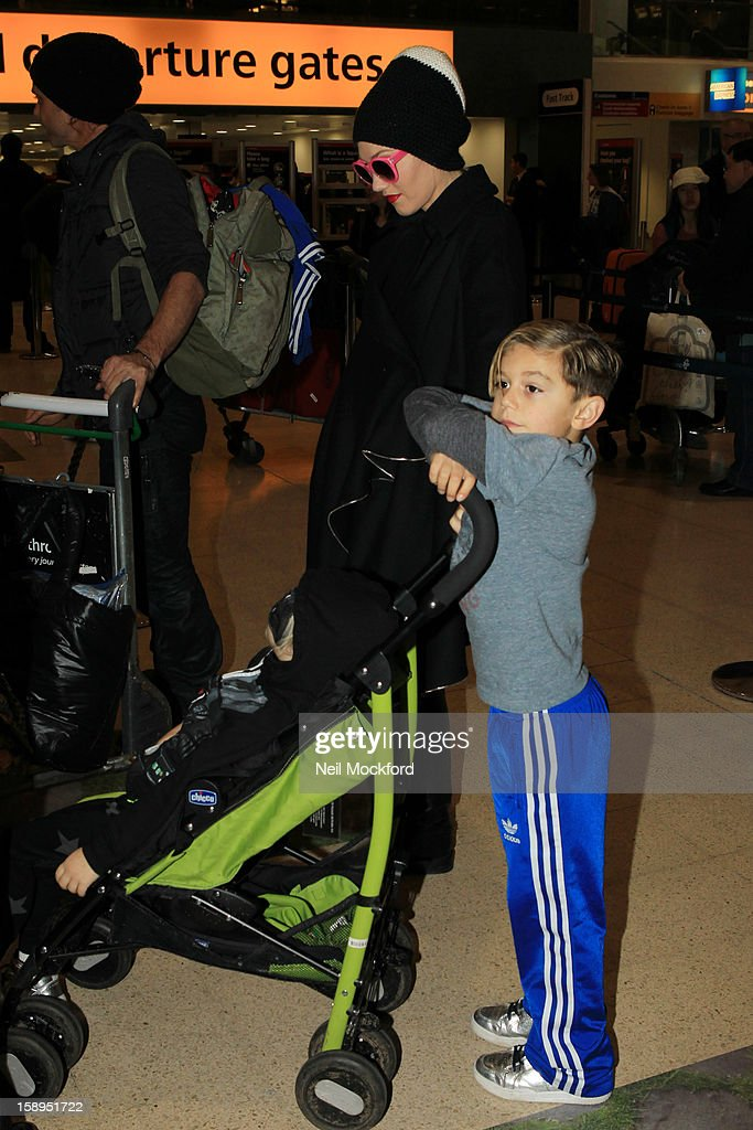 Gwen Stefani and Kingston Rossdale seen at Heathrow Airport on January 4, 2013 in London, England.