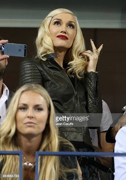 Gwen Stefani and Lindsey Vonn attend the match between Roger Federer of Switzerland and Gael Monfils of France during Day 11 of the 2014 US Open at...