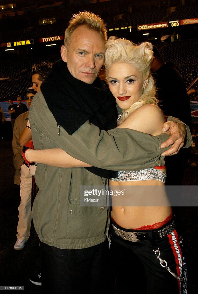 <a gi-track='captionPersonalityLinkClicked' href=/galleries/search?phrase=Gwen+Stefani&family=editorial&specificpeople=156423 ng-click='$event.stopPropagation()'>Gwen Stefani</a> and <a gi-track='captionPersonalityLinkClicked' href=/galleries/search?phrase=Sting+-+Singer&family=editorial&specificpeople=220192 ng-click='$event.stopPropagation()'>Sting</a> during Super Bowl XXXVII - AT&T Wireless Super Bowl XXXVII Halftime Show - Rehearsal at Qualcomm Stadium in San Diego, California, United States.