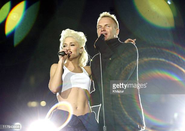 Gwen Stefani and Sting during Super Bowl XXXVII ATT Wireless Super Bowl XXXVII Halftime Show Rehearsal at Qualcomm Stadium in San Diego California...