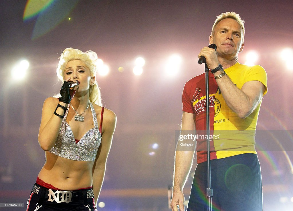 <a gi-track='captionPersonalityLinkClicked' href=/galleries/search?phrase=Gwen+Stefani&family=editorial&specificpeople=156423 ng-click='$event.stopPropagation()'>Gwen Stefani</a> and Sting during Super Bowl XXXVII - AT&T Wireless Super Bowl XXXVII Halftime Show - Rehearsal at Qualcomm Stadium in San Diego, California, United States.