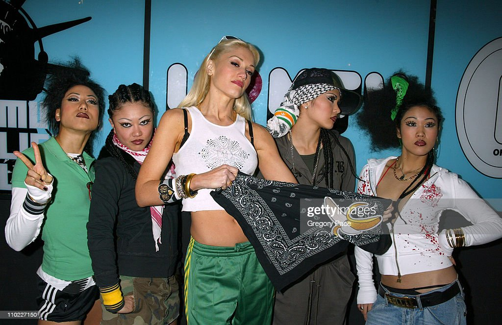 Gwen Stefani and the Harajuku girls during Sandra Bullock and Gwen Stefani Visit MTV's 'TRL' March 22 2005 at MTV Studios Times Square in New York...