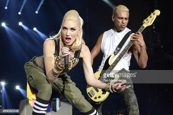 Gwen Stefani and Tony Kanal of No Doubt perform during KAABOO Festival 2015 at Del Mar Fairgrounds on September 18 2015 in Del Mar California