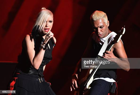 Gwen Stefani and Tony Kanal of No Doubt perform onstage at the 2014 Global Citizen Festival to end extreme poverty by 2030 in Central Park on...