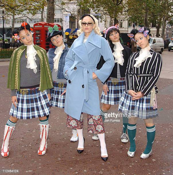Gwen Stefani arrives with Harajuku girls at Capital FM studios for Johnny Vaughan's breakfast show