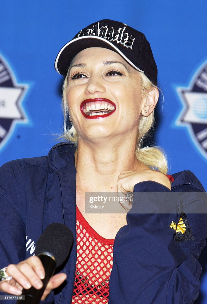 <a gi-track='captionPersonalityLinkClicked' href=/galleries/search?phrase=Gwen+Stefani&family=editorial&specificpeople=156423 ng-click='$event.stopPropagation()'>Gwen Stefani</a> during Super Bowl XXXVII - AT&T Wireless Super Bowl XXXVII Halftime Show Media Conference Agenda at San Diego Convention Center in San Diego, California, United States.