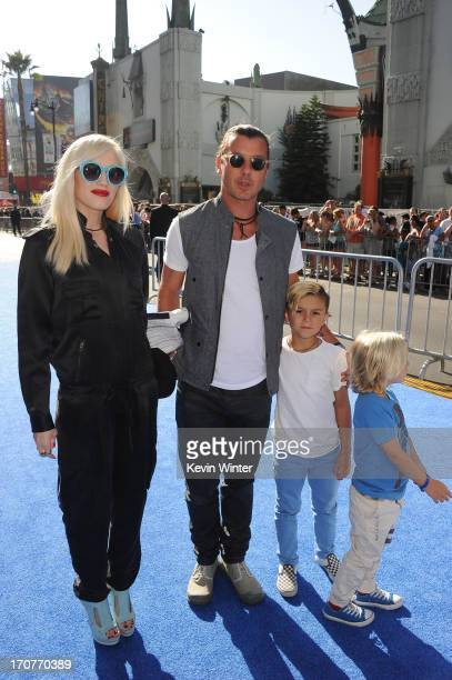 Gwen Stefani Gavin Rossdale and sons Zuma and Kingston Rossdale attend the world premiere of Disney Pixar's 'Monsters University' at the El Capitan...